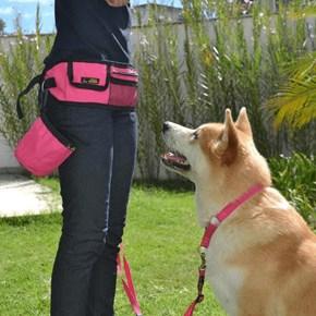 Cartucheira + Porta Petiscos + Guia para passeio e treino de cães