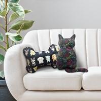 Produto Almofada pet em formato de Gato ou Osso para cama ou sofá