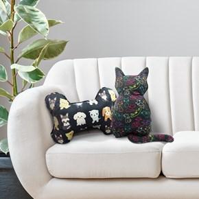 Almofada pet em formato de Gato ou Osso para cama ou sofá