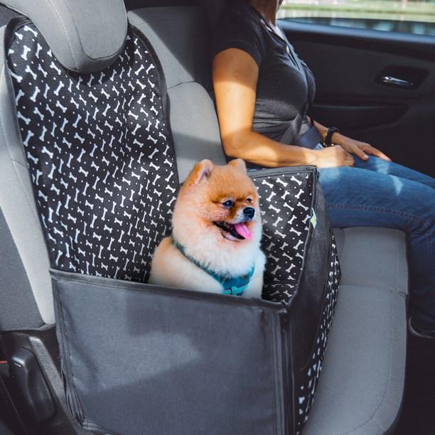 Cadeirinha e assento pet Tutty para levar cães no carro (Fácil de dobrar e guardar)