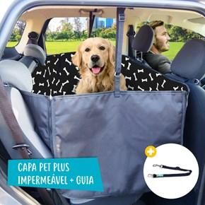 Combo Capa pet impermeável PLUS PREMIUM + Bolsa + Guia para carro