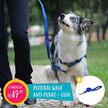 Peitoral anti puxão Walk para passeio e adestramento de cães