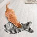 Tapete em forma de peixe para gatos com fundo impermeável